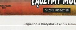 Bilet z sezonu 2018-2019 ze spotkania 2018.07.20.Jagiellonia Białystok-Lechia Gdańsk