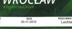 Bilet z sezonu 2018-2019 ze spotkania 2018.11.30.Śląsk Wrocław-Lechia Gdańsk