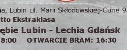 Bilet z sezonu 2018-2019 ze spotkania 2019.03.04.Zagłębie Lubin-Lechia Gdańsk