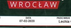 Bilet z sezonu 2019-2020 ze spotkania 2020.02.07.Śląsk Wrocław-Lechia Gdańsk