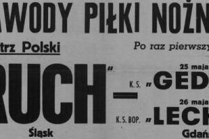 Plakat z sezonu 1946 ze spotkania 1946.05.26 Lechia Gdańsk-Ruch Wielkie Hajduki