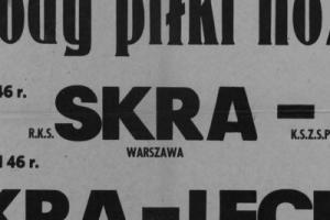 Plakat z sezonu 1946 ze spotkania 1946.08.11 Lechia Gdańsk-Skra Warszawa