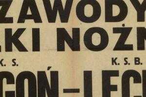 Plakat z sezonu 1946 ze spotkania 1946.08.18 Lechia Gdańsk-KS Pogoń (Mistrz Okr. Warsz.)