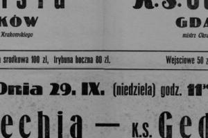 Plakat z sezonu 1946 ze spotkania 1946.09.29 Lechia Gdańsk-Gedania Gdańsk