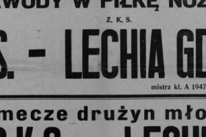 Plakat z sezonu 1947 ze spotkania 1947.07.13 Lechia Gdańsk-PKS Szczecin