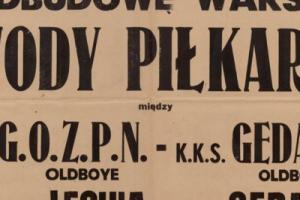 Plakat z sezonu 1947 ze spotkania 1947.09.27 Lechia Gdańsk-Gedania Gdańsk