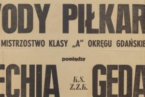Plakat z sezonu 1948 ze spotkania 1948.04.25 Lechia Gdańsk-Gedania Gdańsk