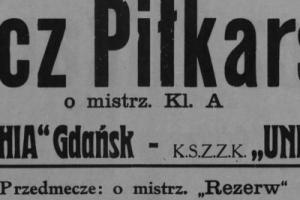 Plakat z sezonu 1948 ze spotkania 1948.05.06 Unia Tczew-Lechia Gdańsk