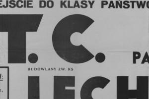 Plakat z sezonu 1948 ze spotkania 1948.10.03 Lechia Gdańsk-PTC Pabianice