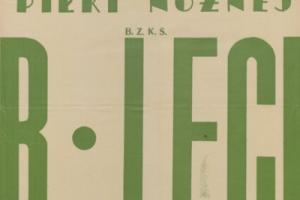 Plakat z sezonu 1949 ze spotkania 1949.03.06 Lechia Gdańsk-Dąb Poznań