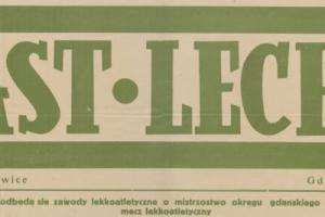 Plakat z sezonu 1949 ze spotkania 1949.06.05 Lechia Gdańsk-Piast Gliwice