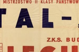 Plakat z sezonu 1950 ze spotkania 1950.04.16 Lechia Gdańsk-Stal Sosnowiec