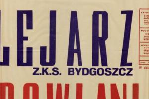 Plakat z sezonu 1950 ze spotkania 1950.08.20 Lechia Gdańsk-Kolejarz Bydgoszcz