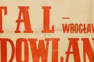 Plakat z sezonu 1951 ze spotkania 1951.04.15 Budowlani Gdańsk-Stal Wrocław