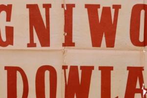 Plakat z sezonu 1951 ze spotkania 1951.08.12.Budowlani Gdańsk-Ogniwo Bytom