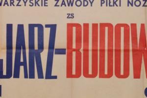 Plakat z sezonu 1951 ze spotkania 1951.09.09.Budowlani Gdańsk-Kolejarz Poznań