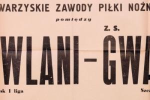 Plakat z sezonu 1952 ze spotkania 1952.03.23.Gwardia Szczecin-Budowlani Gdańsk