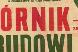 Plakat z sezonu 1954 ze spotkania 1954.03.14 Budowlani Gdańsk-Górnik Zabrze