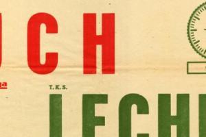 Plakat z sezonu 1956 ze spotkania 1956.03.12 Lechia Gdańsk-Ruch Chorzów