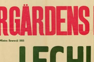 Plakat z sezonu 1956 ze spotkania 1956.04.01 Lechia Gdańsk-Djurgardens Sztokholm (Szwecja)
