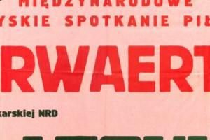 Plakat z sezonu 1966 ze spotkania 1966.08.07 Lechia Gdańsk-Vorwaerts Rostock (NRD)